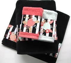 Aqua Towels Bathroom Coral Mint Black Towels Hand Towels Bath Towels Custom