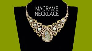 crystal necklace patterns images Macrame necklace with stone and beads tutorial jpg
