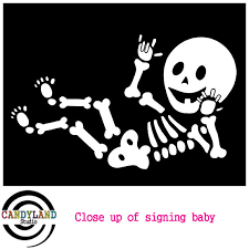 Skeleton Maternity Halloween Costumes Pregnant Baby Skeleton Ily Signing Baby Iron Decal Diy