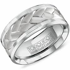 house wedding band center weave design cobalt band torque diamond