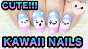 kawaii nail art cute cloud faces u0026 rainbow sponging youtube