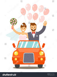 background pictures for newly wed halloween coiple newlyweds go wedding car flat vector stock vector 446770303
