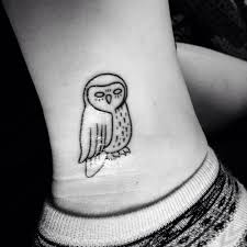 owl tattoo simple tattoo on the ankle