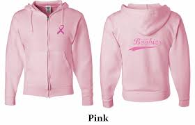 mens hoodie pink ribbon save the front u0026 back full zip
