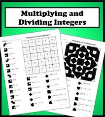 multiplying and dividing integers color worksheet worksheets