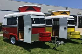 travel trailer with garage the tiny meerkat camper can be towed by almost any car curbed