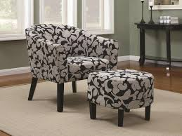 accent seating barrel back accent chair and ottoman set with white