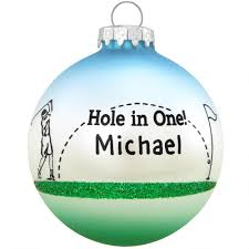 personalized hole in one three tone glass ornament hobbies