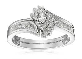 interlocking engagement ring wedding band 10k white gold marquise and diamond bypass ring