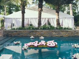 String Lights Over Pool by 20 Totally Unexpected Wedding Flower Ideas