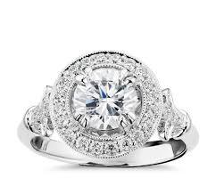blue nile studio vintage fleur de lis halo engagement ring in