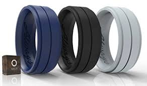 mens rubber wedding bands silicone weddings rings for men by arua 3 pack