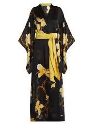 robe de chambre en soie carine gilson robe de chambre en satin soie imprimé orchidées