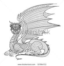drawing dragon coloring book stock vector 317664713 shutterstock