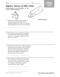 algebra volume of other solids problem solving 21 6 6th 8th