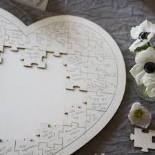 wedding guest book wooden heart jigsaw puzzle wedding guest book the wedding of my