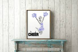 Chicago Map Wall Art by Personalized Cheerleader Gift Name Print Custom Word Art