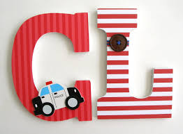 wooden letters home decor custom decorated wooden letters police theme nursery bedroom home