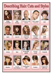 esl hairstyles english worksheets describing hair cuts and styles