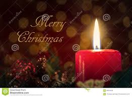 merry card with burning candle stock image image 58843209