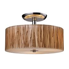 Bamboo Ceiling Light Elk Lighting 19065 3 3 Light Modern Organics Bamboo Semi Flush
