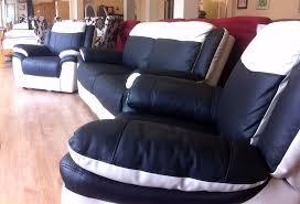 Scs Armchairs Scs Leo Black U0026 White Leather 3 Seater Sofa 2 X Armchairs