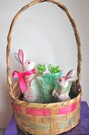 paper mache easter baskets vintage easter basket and two paper mache bunnies 60 00 picclick