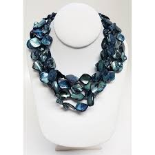 blue shell necklace images Shop kenneth jay lane 4 row blue shell necklace free shipping jpg