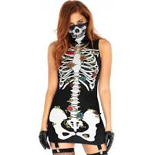gothic halloween costumes skeleton print garter dress and facemask gothic dress