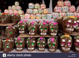 sugar skulls for sale at the day of the dead market in guanajuato