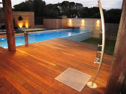 Outdoor Pool Showers - the shower base tray and grate creative drain solutions