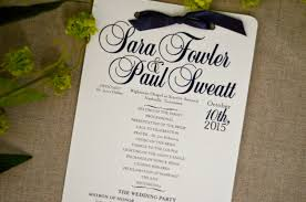 wedding day program classic simple navy blue script wedding day program