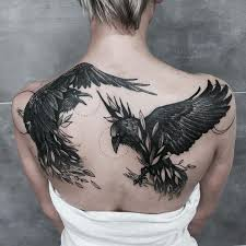 two ravens tattoo on the back tattoo designs pinterest