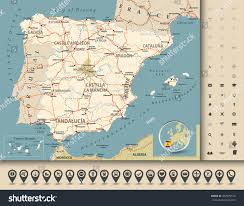 Madrid Spain Map by Road Map Spain Highways Railroads Cities Stock Vector 307479518