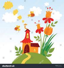 fairy house vector cute hand drawn stock vector 466604321