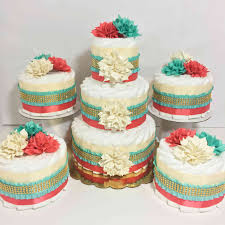 Diaper Cake Centerpieces by Coral Aqua And Cream Chic Diaper Cake Set Chic Baby Cakes