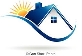home logo icon house sun and bushes logo house sun and bushes icon vector eps