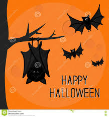 happy halloween card cute sleeping bat hanging on tree stock