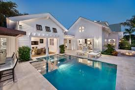 outdoors backyard decor with small modern pool house and unique