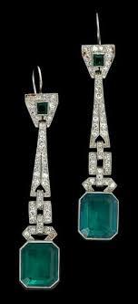 emerald drop emerald and baguette diamond drop earrings set in platinum by