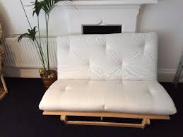 ikea cream white scandinavian pine wood futon double sofa bed