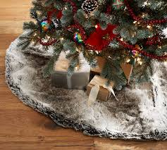 brown tree skirt faux fur tree skirt gray ombre pottery barn