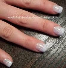 silver tip nail art over acrylic nails nails pinterest