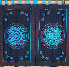 celtic tab top curtains cotton block print fabric indian style