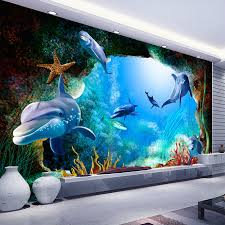 online get cheap dolphin wall murals aliexpress com alibaba group custom 3d photo wallpaper scenery for walls ocean seabed cave cartoon dolphin wall mural kids wall