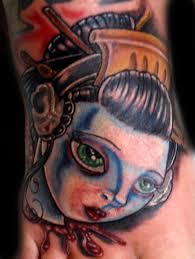 geisha with headphones by trent edwards tattoonow