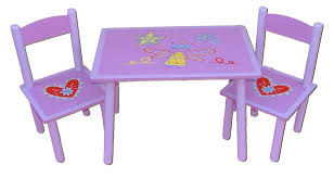 Ikea Childrens Table And Chairs by Rectangle Purple Table With Fairy Picture On The Counter Top