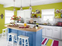 small kitchen decoration combine blue kitchen island and white