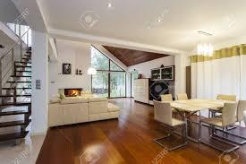 ground floor of modern house with wooden floor stock photo