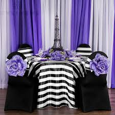 Purple Chair Sashes Stripe Satin Chair Sash Black U0026 White Cv Linens